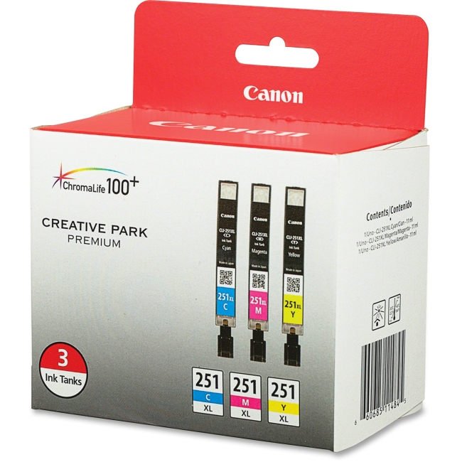 Canon, Inc 6449B009 Canon 251 XL Value Pack Ink Cartridge - Cyan, Magenta, Yellow